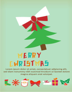 Christmas Vector illustration with  christmas tree and ribbon Vector Illustrations vector