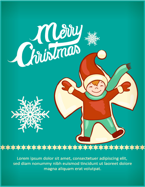 Christmas Vector illustration with kid, snow, snowflake Vector Illustrations vector