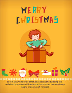 Christmas Vector illustration with kid and gift Vector Illustrations vector