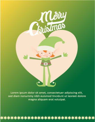 Christmas Vector illustration with elf, heart Vector Illustrations vector