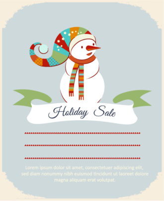 Christmas Vector illustration with snowman and ribbon Vector Illustrations star