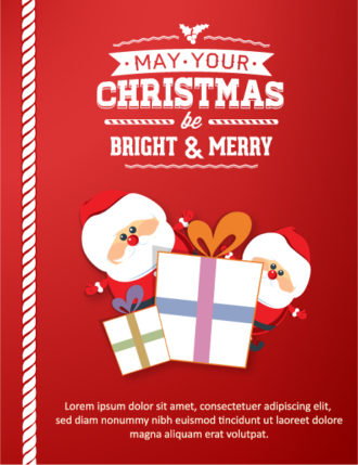 Christmas Vector illustration with santa and gift Vector Illustrations star
