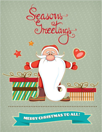Christmas Vector illustration with santa and ribbon Vector Illustrations vector