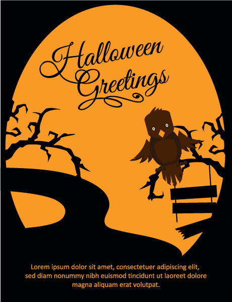 Halloween Vector illustration  with owl, tree Vector Illustrations tree