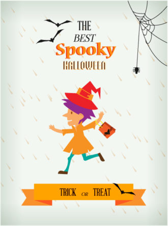 Halloween Vector illustration  with little girl,ribbon, bats Vector Illustrations vector