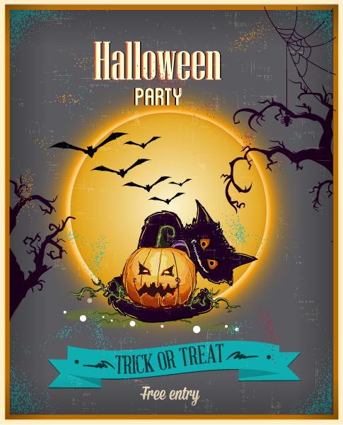 Halloween Vector illustration  with moon, cat, ribbon Vector Illustrations vector