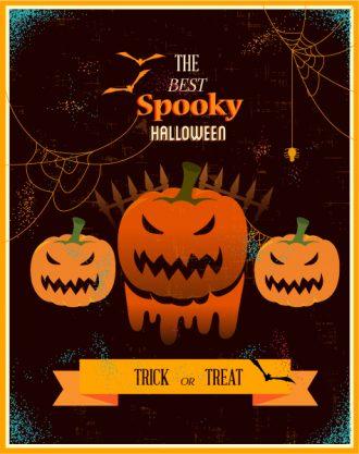 Halloween Vector illustration  with pumpkin, ribbon, Vector Illustrations vector