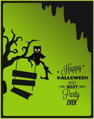 Halloween Vector illustration  with owl, tree, sign Vector Illustrations tree