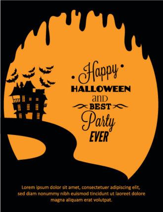 Halloween Vector illustration  with castle Vector Illustrations tree