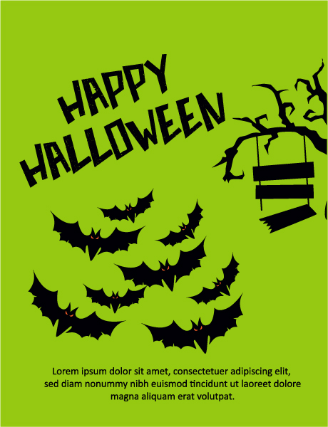 Awesome Vector Vector Graphic: Halloween Vector Graphic Illustration  With Tree, Bats 5