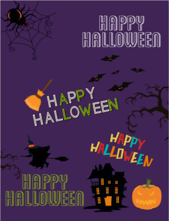 Halloween Vector illustration  with witch, pumpkin, broom Vector Illustrations vector