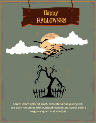 Halloween Vector illustration  with tree, moon and clouds Vector Illustrations tree