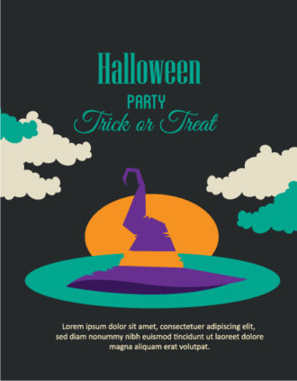 Halloween Vector illustration with clouds and hat Vector Illustrations vector