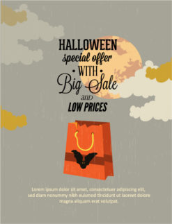 Halloween Vector illustration with bat and shopping bag Vector Illustrations vector