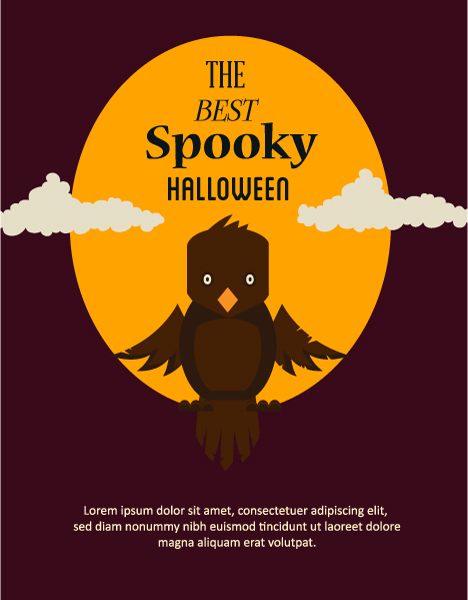 Moon Vector Design: Halloween Vector Design Illustration With Owl And Moon 5