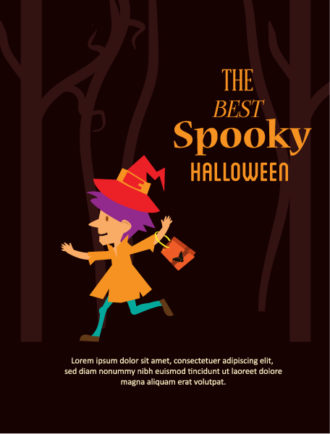 Halloween Vector illustration with little girl Vector Illustrations star