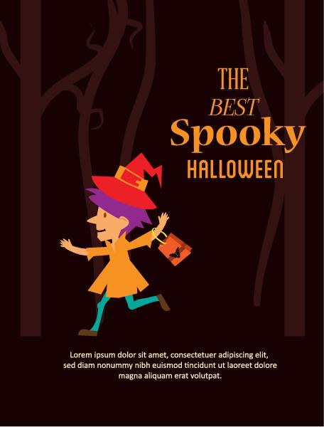 Halloween Vector illustration with little girl Vector Illustrations star
