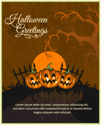 Halloween Vector illustration with pumpkin and tree Vector Illustrations star