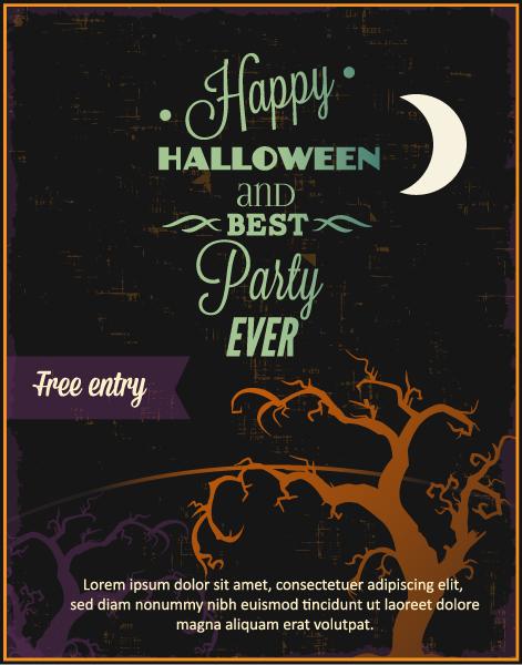 Halloween Vector illustration with creepy tree Vector Illustrations star