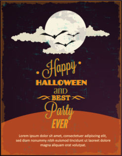 Halloween Vector illustration with moon and clouds Vector Illustrations vector