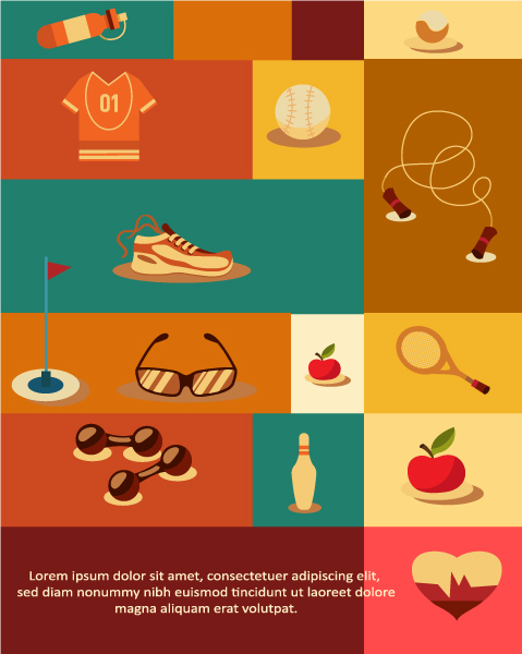 Vector illustration with sport elements Vector Illustrations ball