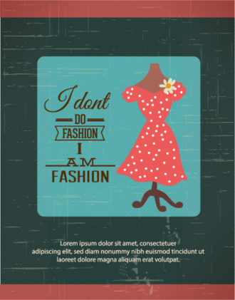 Vector illustration with fashion typography and lady dress Vector Illustrations vector