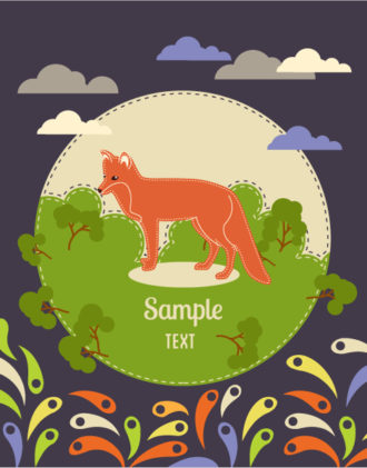 Vector background illustration with fox Vector Illustrations city