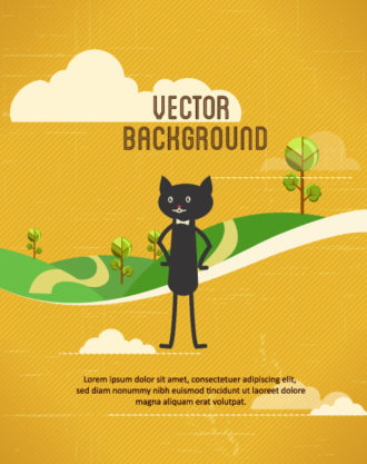Vector background illustration with cat Vector Illustrations urban
