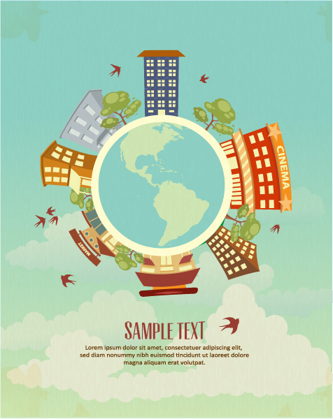 Vector illustration with buildings and earth globe 2015 03 03 749