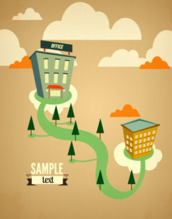 Vector illustration with trees and clouds Vector Illustrations summer