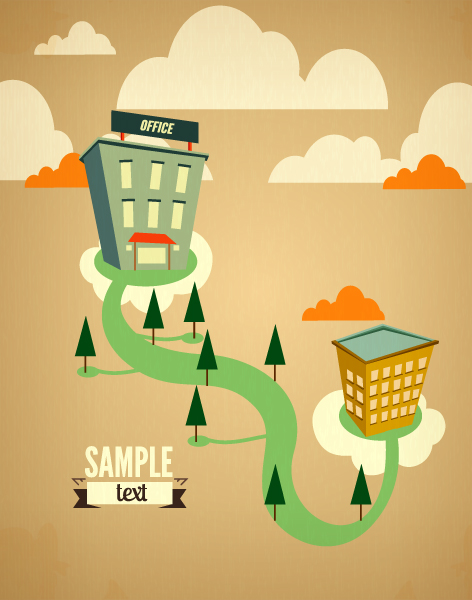 Smashing Clouds Vector Art: Vector Art Illustration With Trees And Clouds 2015 03 03 750