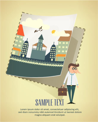 Vector background illustration with building landscape, paper and business man Vector Illustrations building