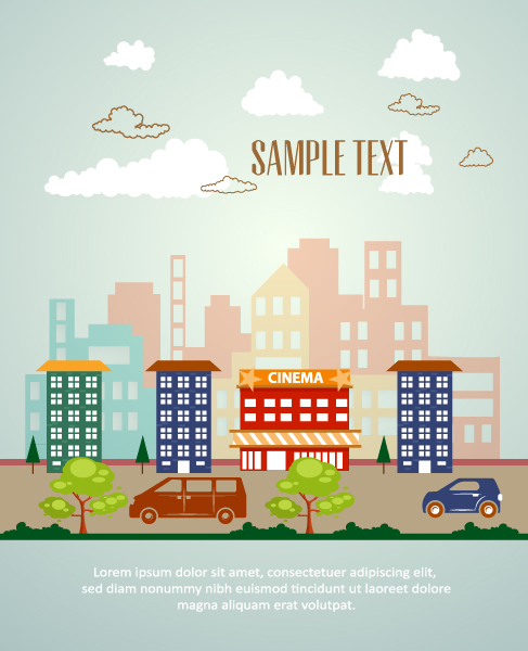 Vector background illustration with building landscape Vector Illustrations tree