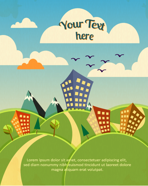 Lovely Illustration Vector: Vector Background Illustration With Building, Hills, Clouds 1