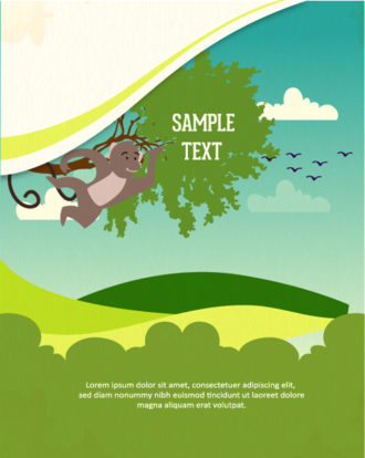 Vector background illustration with monkey and tree Vector Illustrations tree