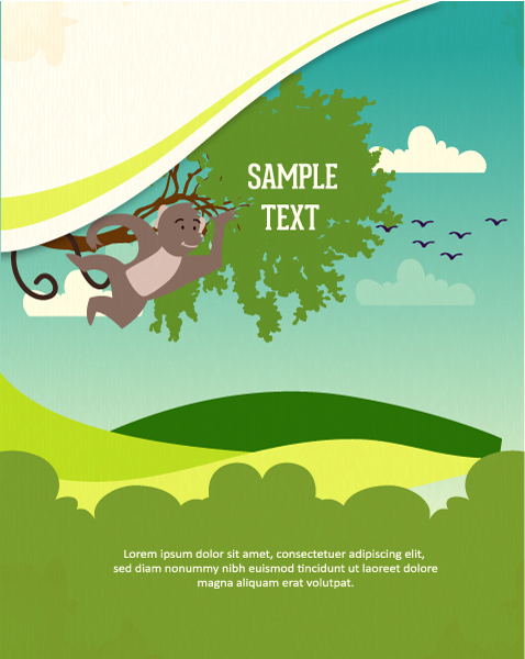 Vector background illustration with monkey and tree 2015 03 03 770