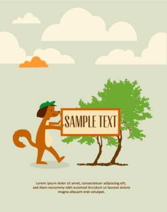 Vector background illustration with dog and tree Vector Illustrations tree