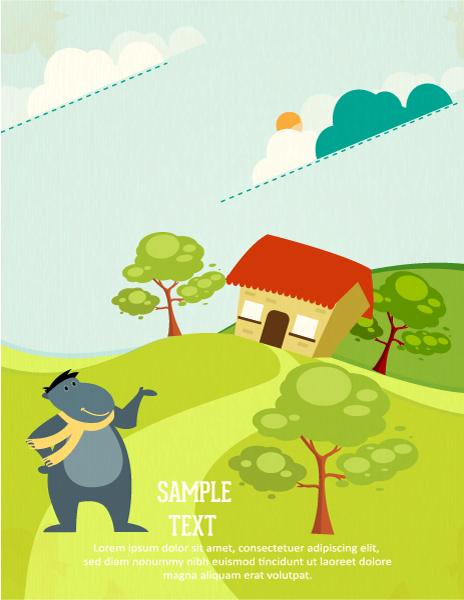 Buy Animals, Vector Background: Vector Background Background Illustration With Animals, House, Trees And Clouds 1