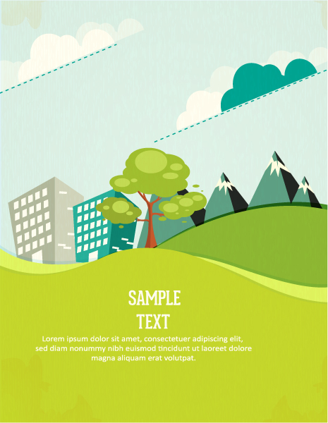 Stylish, Buildings, Shadow, Vector, Abstract-2, Clouds Vector Image Vector Background Illustration  Tree, Clouds  Buildings 1