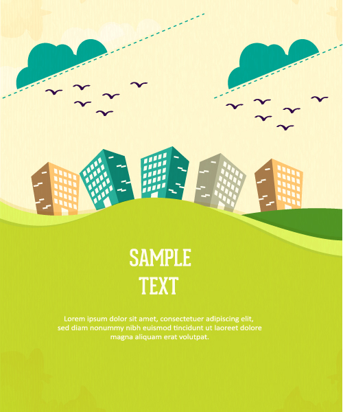 Illustration Vector Graphic: Vector Graphic Background Illustration With Tree, Clouds And Buildings 1