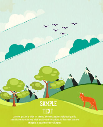 Vector background illustration with clouds, mountain, fox, tree, road, landscape Vector Illustrations tree