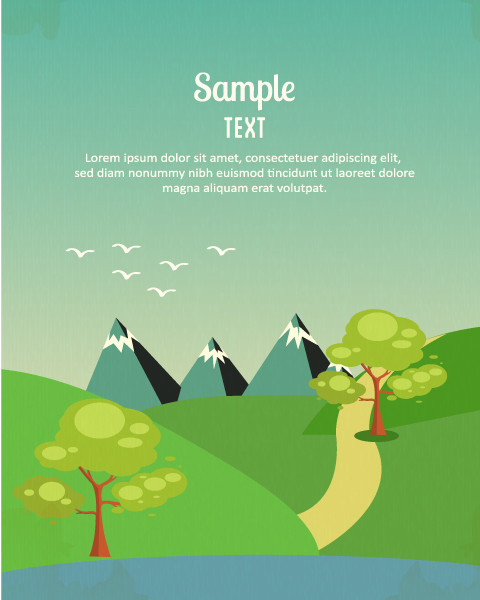 Vector background illustration with tree,mountains,clouds and road Vector Illustrations tree