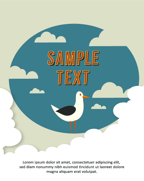 Clouds, Vector Image Vector Background Illustration  Clouds,  Birds 1