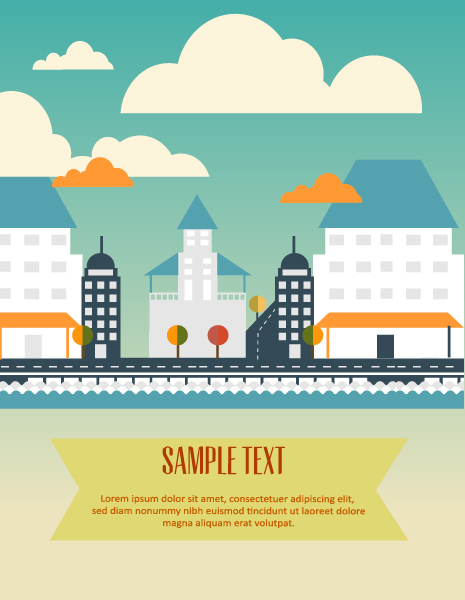 Vector background illustration with clouds, buildings, Vector Illustrations urban