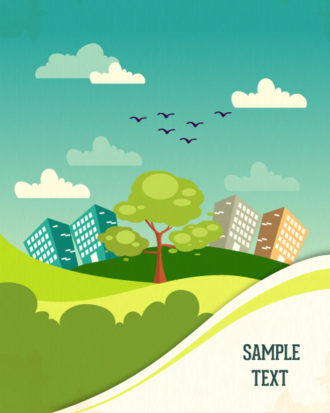 Vector background illustration with tree,mountains,clouds,buildings and road Vector Illustrations tree