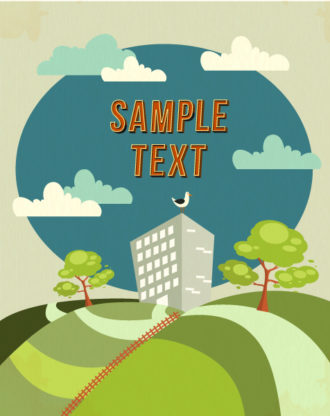 Vector background illustration with tree,clouds, and buildings Vector Illustrations tree