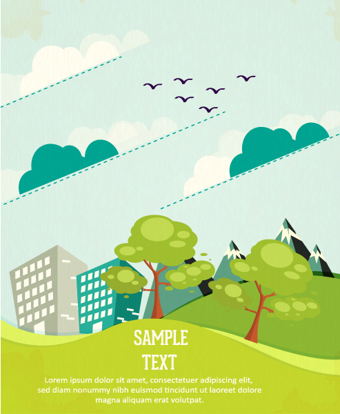 Special Vector Vector Background: Vector Background Background Illustration With Tree,mountains,clouds, And Buildings 1