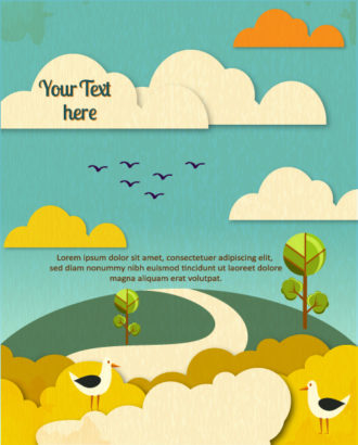 Vector background illustration with tree,clouds, and birds Vector Illustrations tree