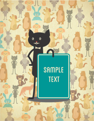 Vector background illustration with  cat and animal pattern Vector Illustrations urban
