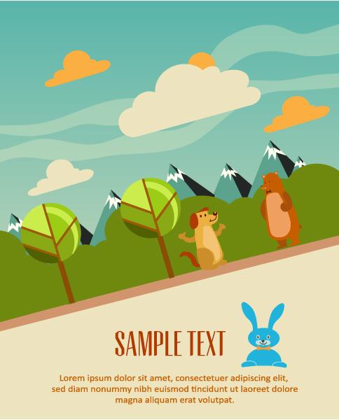 Best Dog Vector Design: Vector Design Background Illustration With Tree, Dog And Bear 1